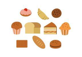 Vector de ícones de pastelaria colorida grátis