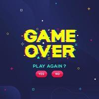 game over play novamente design de falha de ruído cibernético vetor