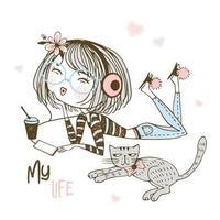 garota em fones de ouvido ouvindo música vetor