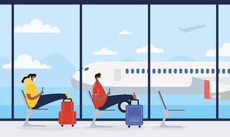 sala de espera do aeroporto com pessoas sentadas