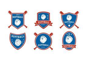 softball badge vector grátis