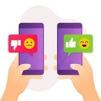 feedback conceito mão segurando um smartphone com uma mensagem de não gosto vetor