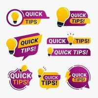 emblemas de dicas rápidas com ícones de lâmpadas amarelas vetor