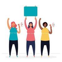 mulheres protestando com sinais em branco e megafones