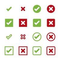 conjunto de símbolos de ícone de cruz e marca de seleção vetor