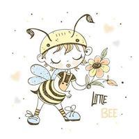 um garotinho fofo em uma fantasia de abelha vetor