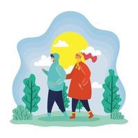 casal com máscaras faciais ao ar livre na primavera