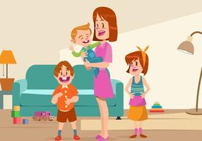 Nanny With The Kids Vector