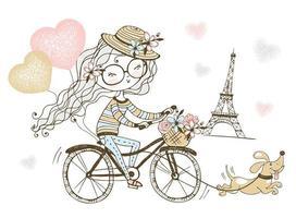 garota anda de bicicleta com seu cachorro em paris. vetor