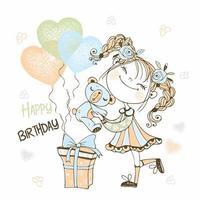 linda garota com um ursinho de pelúcia e balões vetor