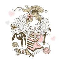 uma menina com um cordeiro tricota um lenço vetor