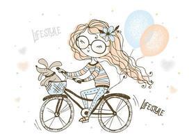 menina com seu cachorro de estimação anda de bicicleta vetor
