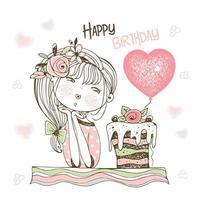 linda garota com um bolo e um balão. vetor