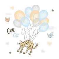 gato vermelho bonito voando em balões. vetor