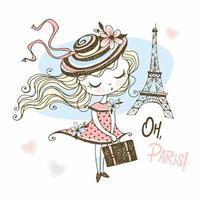 linda garota com uma mala em paris vetor