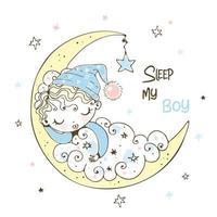 lindo menino em um boné dormindo vetor