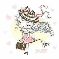 turista garota com um chapéu e uma mala vetor