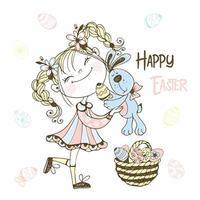 menina com um coelho e uma cesta