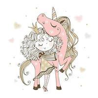 princesinha fofa com um unicórnio rosa vetor