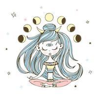uma garota em posição de lótus medita