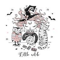 uma bruxa com um gato e uma coruja