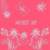 cartão postal desenhado à mão para o dia das mães vetor