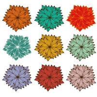Conjunto de mandala zentangle para livro de colorir