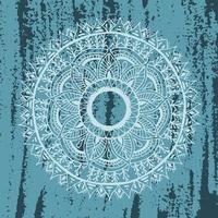mandala de flores em textura azul grunge