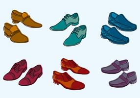 Conjunto de ilustração de sapatos masculinos vetor