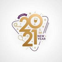 feliz ano novo 2021 tipografia para cartão comemorativo
