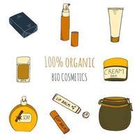 cosméticos orgânicos dispostos em estilo desenhado à mão vetor