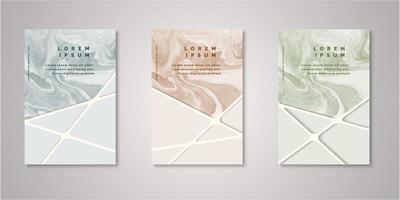 conjunto de capas aquarela com listras geométricas vetor
