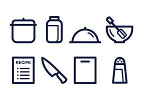 Conjunto de ícones lineares de cozinha grátis vetor