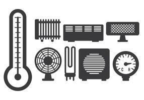 Ícones elétricos do aquecedor vetor