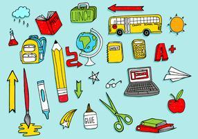 Pacote Doodles de Material Escolar vetor