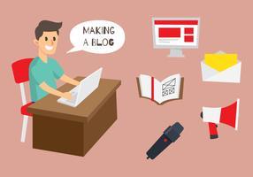Ilustração e ícone do Blogger vetor