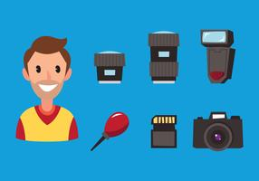 Fotógrafo e equipamento vetor