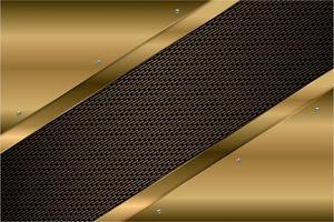 painéis angulares de ouro metálico com textura de fibra de carbono vetor