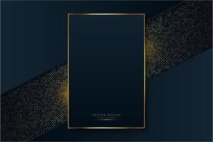 moldura luxuosa de azul e dourado sobre pontos brilhantes vetor