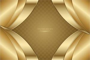 ouro metálico curvado fundo dos painéis em camadas. vetor