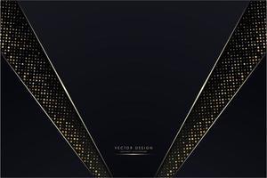 painéis em ângulo azul escuro com seções de pontos dourados brilhantes vetor
