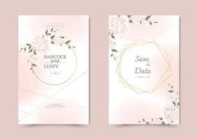 cartão de convite de casamento floral.