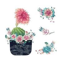suculentas e flores em vaso aquarela desenhada à mão vetor