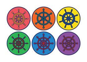 Conjunto de vetores de roda dos navios