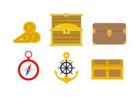 Vetores do ícone do navio e da navigação