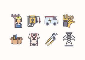 Conjunto de ícones de eletricistas gratuitos vetor
