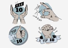 Top Ten, mão, pose, vintage, etiqueta, mão, desenhado, vetorial, Ilustração vetor