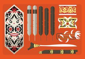 Etnic Pattern Indonesian Dayak Cultura Vector Flat