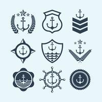 Símbolo e logotipo da selagem da marinha vetor