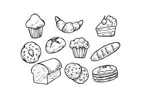 Vector de ícone desenhado à mão de pastelaria grátis